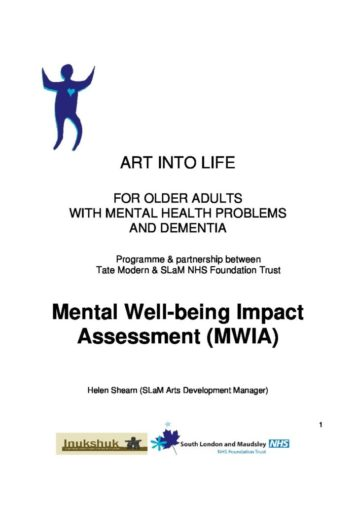 Mental Well Being Impact Assessment Repository For Arts And Health Resources